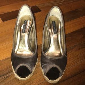 Nine West Size 10 Brown Satin Peep Toe Wedges